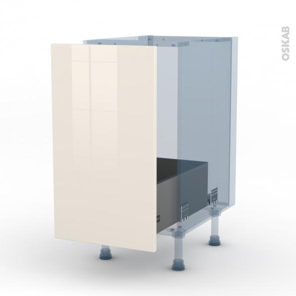 KERIA Ivoire - Kit Rénovation 18 - Meuble sous-évier  - 1 porte coulissante - L40xH70xP60