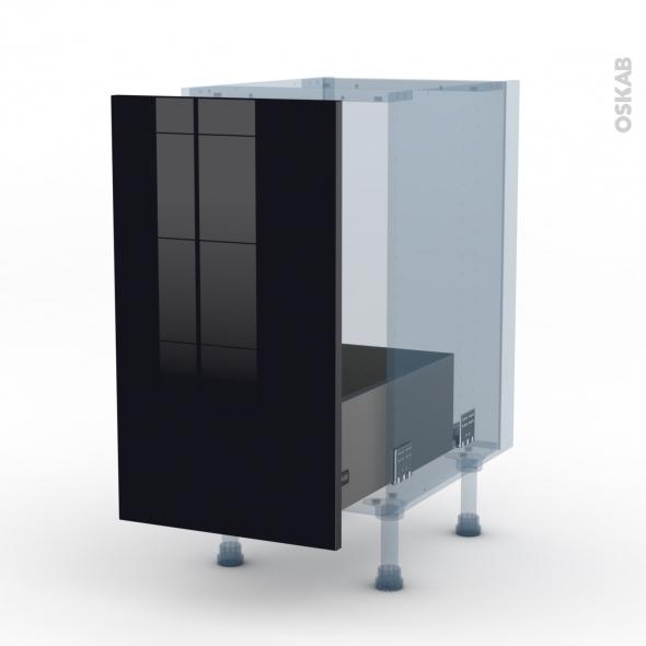 KERIA Noir - Kit Rénovation 18 - Meuble sous-évier  - 1 porte coulissante - L40xH70xP60