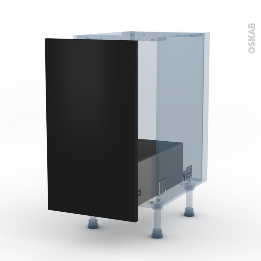 Ginko noir kit r novation 18 meuble sous vier 1 porte for Meuble noir porte coulissante
