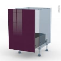 KERIA Aubergine - Kit Rénovation 18 - Meuble sous-évier  - 1 porte coulissante - L50xH70xP60