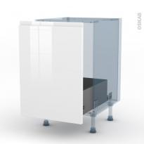IPOMA Blanc brillant - Kit Rénovation 18 - Meuble sous-évier  - 1 porte coulissante - L50xH70xP60