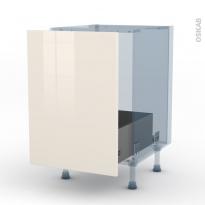 KERIA Ivoire - Kit Rénovation 18 - Meuble sous-évier  - 1 porte coulissante - L50xH70xP60