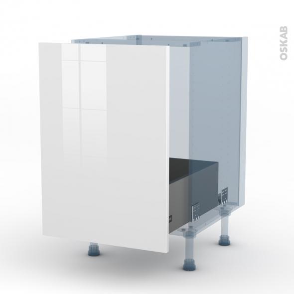 STECIA Blanc - Kit Rénovation 18 - Meuble sous-évier  - 1 porte coulissante - L50xH70xP60