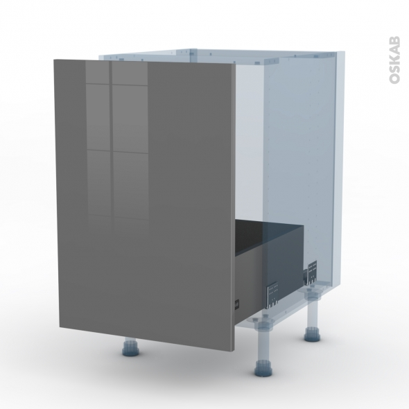 STECIA Gris - Kit Rénovation 18 - Meuble sous-évier  - 1 porte coulissante - L50xH70xP60