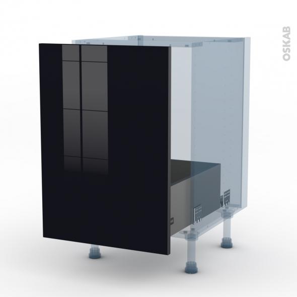 KERIA Noir - Kit Rénovation 18 - Meuble sous-évier  - 1 porte coulissante - L50xH70xP60