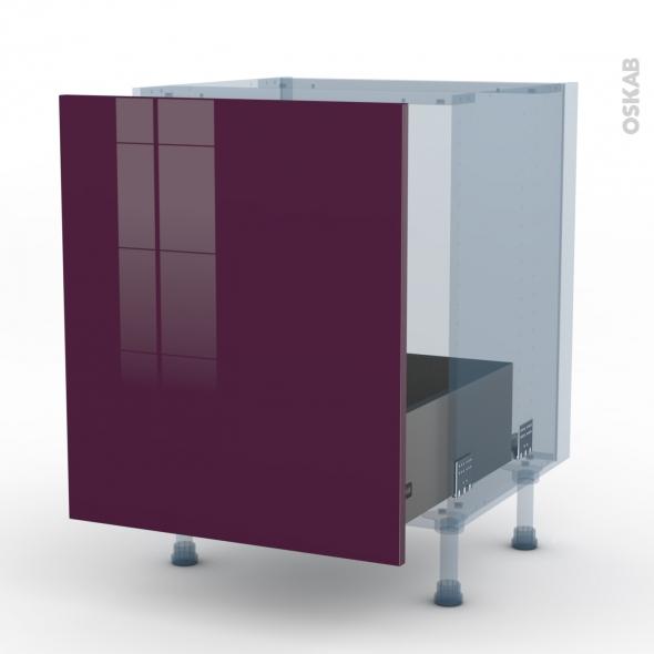 KERIA Aubergine - Kit Rénovation 18 - Meuble sous-évier  - 1 porte coulissante - L60xH70xP60