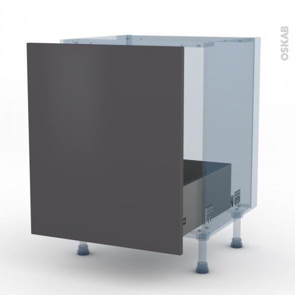 GINKO Gris - Kit Rénovation 18 - Meuble sous-évier  - 1 porte coulissante - L60xH70xP60