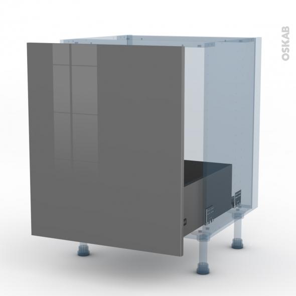STECIA Gris - Kit Rénovation 18 - Meuble sous-évier  - 1 porte coulissante - L60xH70xP60