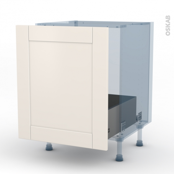 FILIPEN Ivoire - Kit Rénovation 18 - Meuble sous-évier  - 1 porte coulissante - L60xH70xP60
