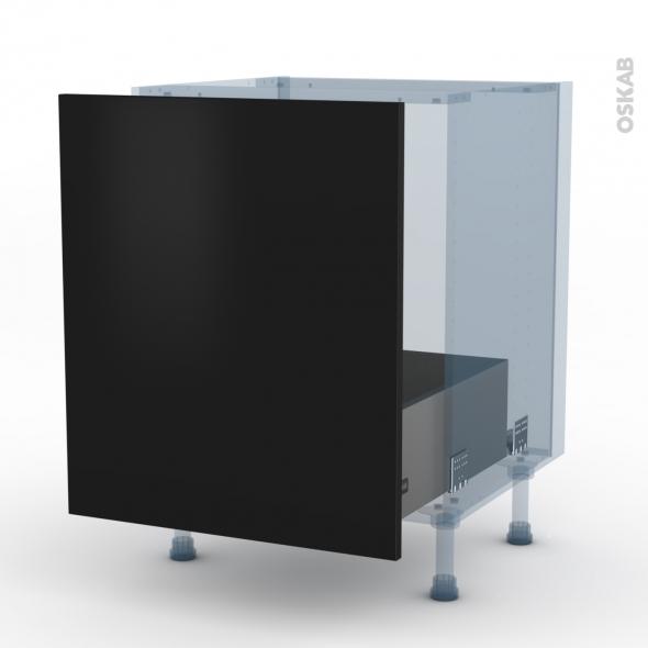 GINKO Noir - Kit Rénovation 18 - Meuble sous-évier  - 1 porte coulissante - L60xH70xP60