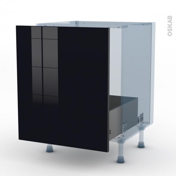 KERIA Noir - Kit Rénovation 18 - Meuble sous-évier  - 1 porte coulissante - L60xH70xP60