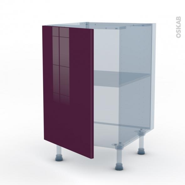 KERIA Aubergine - Kit Rénovation 18 - Meuble sous-évier  - 1 porte - L50xH70xP60