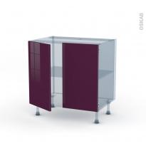 KERIA Aubergine - Kit Rénovation 18 - Meuble sous-évier  - 2 portes - L80xH70xP60