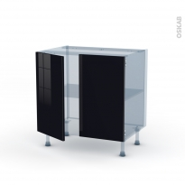 KERIA Noir - Kit Rénovation 18 - Meuble sous-évier  - 2 portes - L80xH70xP60