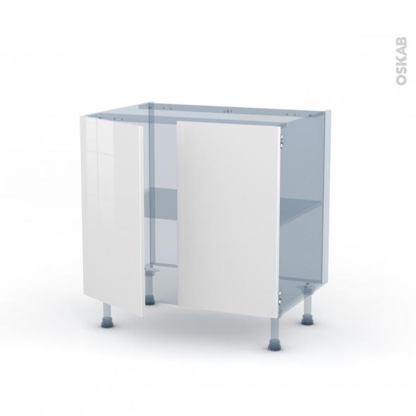 STECIA Blanc - Kit Rénovation 18 - Meuble sous-évier  - 2 portes - L80xH70xP60