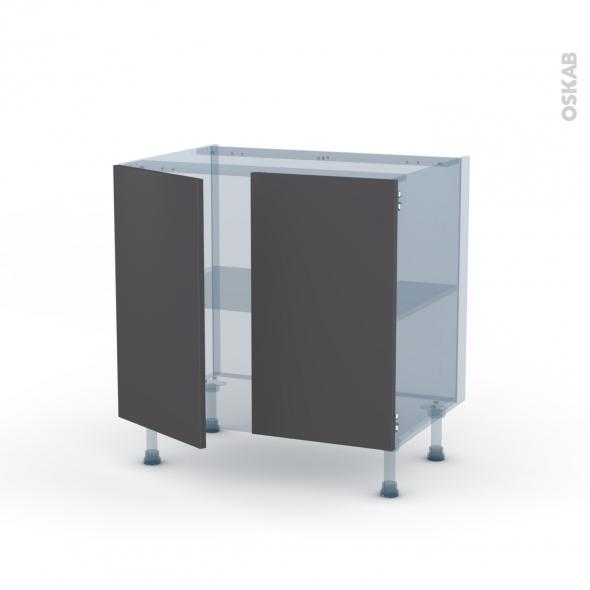 GINKO Gris - Kit Rénovation 18 - Meuble sous-évier  - 2 portes - L80xH70xP60