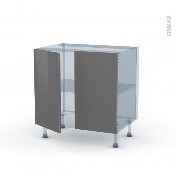 Stecia gris kit r novation 18 meuble sous vier 2 portes for Meuble 3 portes sous evier