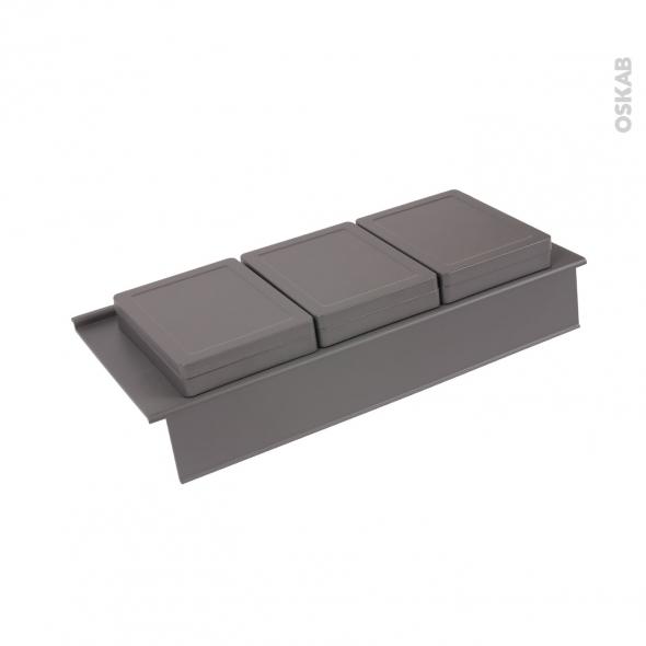 HAKEO - Rangement 3 boîtes avec couvercle - Pour meuble prof 50