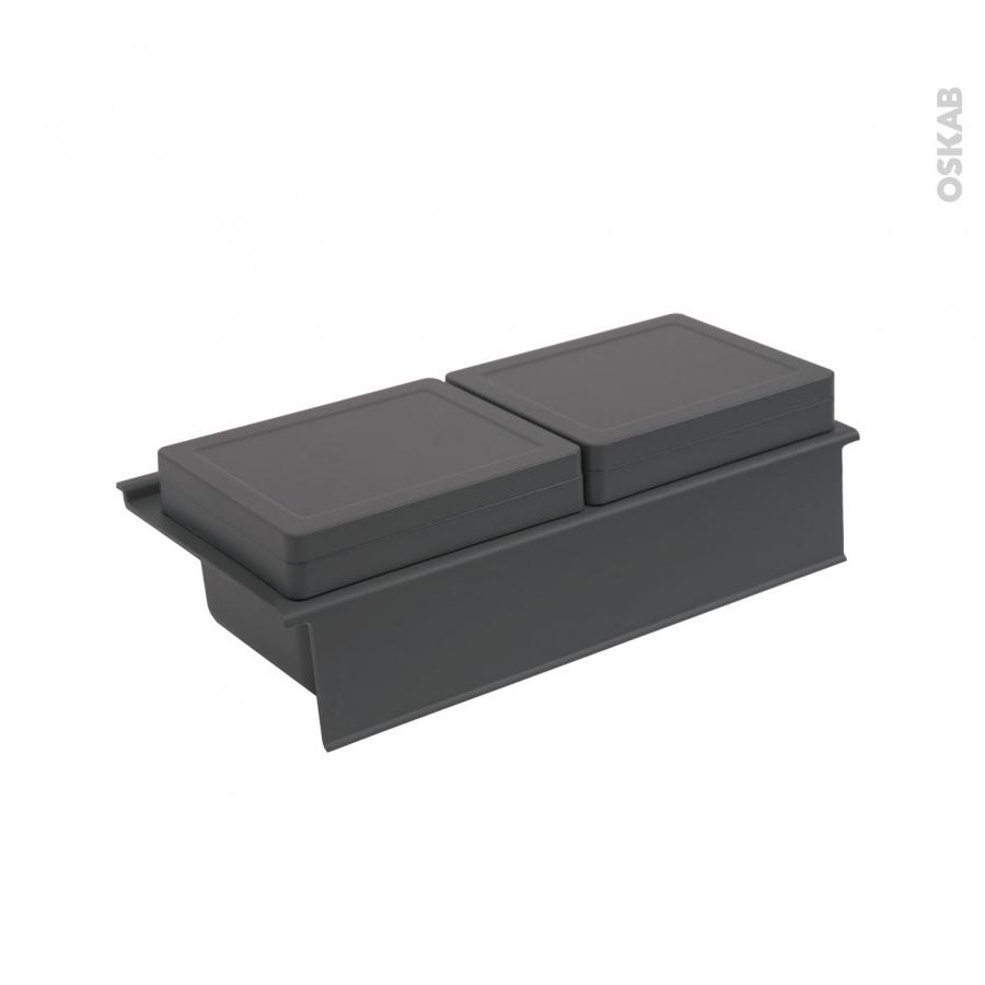 Rangement 2 bo tes avec couvercle pour meuble prof 40 cm for Meuble haut tiroir