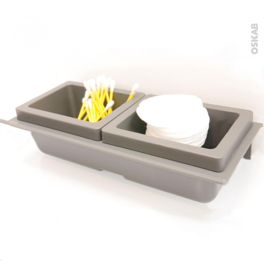 Rangement 2 bo tes avec couvercle pour meuble prof 40 cm for Boite de rangement salle de bain