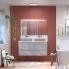 #Armoire de salle de bains - Rangement haut - HODA Béton - 1 porte miroir - Côtés décors - L60 x H70 x P27 cm