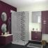 #Meuble de salle de bains - Plan double vasque EGEE - KERIA Aubergine - 4 tiroirs - Côtés décors - L120,5 x H71,2 x P40,5 cm