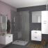 #STECIA Blanc - Armoire de toilette N°742 - Côté décor - 2 portes miroir - L60xH70xP17