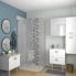 #Meuble de salle de bains - Plan vasque VALA - IRIS Blanc - 1 porte - Côtés décors - L60,5 x H58,2 x P50,5 cm