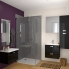 #KERIA Noir - Meuble salle de bains N°731 - Double vasque REZO - 4 portes Prof.40 - L120,5xH71,5xP40,5