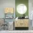 #Meuble de salle de bains - Sous vasque - OKA Chêne - 1 porte - Côtés décors - L60 x H57 x P50 cm