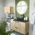 #Meuble de salle de bains - Plan vasque REZO - OKA Chêne - 1 porte - Côtés décors - L60,5 x H58,5 x P40,5 cm