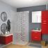 #GINKO Rouge - Armoire de rangement N°682 - Côté décor - 2 portes miroir - L80xH70xP27