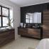 #Meuble de salle de bains - Plan vasque VALA - IPOMA Noyer - 2 tiroirs - Côtés décors - L60,5 x H71,2 x P50,5 cm