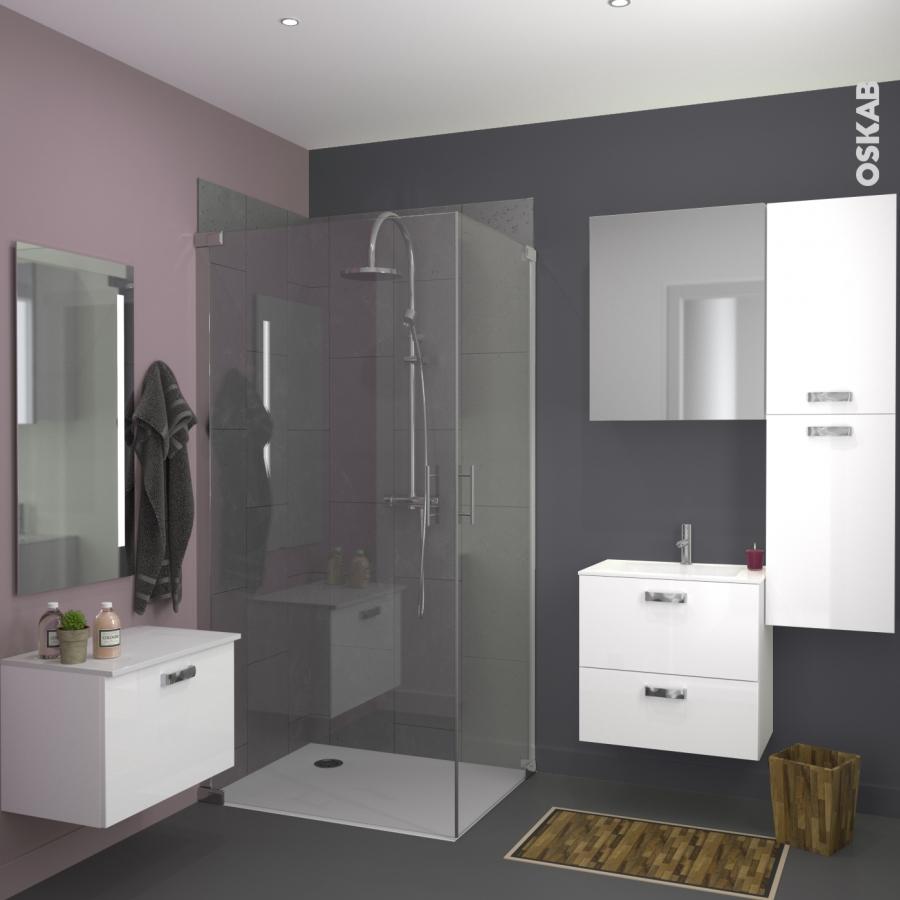 Armoire de salle de bains rangement haut bora blanc 2 for Modele de salle de bain pas cher