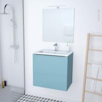 Meuble de salle de bains - Plan vasque REZO - KERIA Bleu - 1 porte - Côtés décors - L60,5 x H58,5 x P40,5 cm