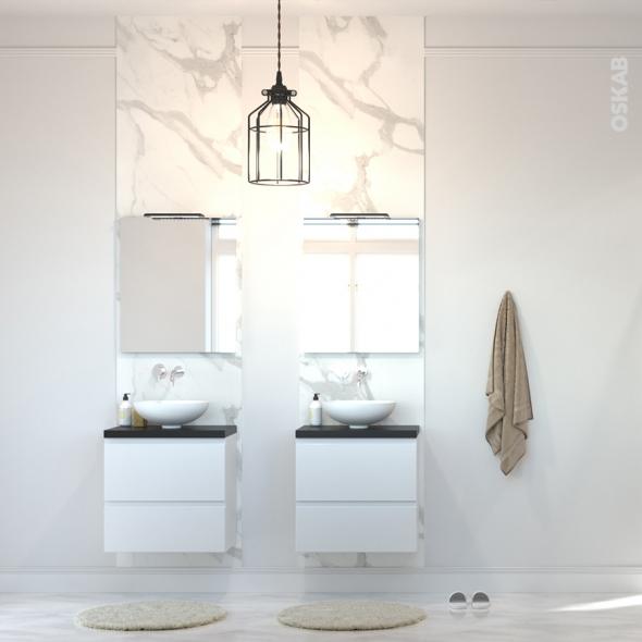 Meuble de salle de bains - Sous vasque - IPOMA Blanc brillant - 2 tiroirs - Côtés décors - L60 x H57 x P40 cm
