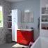 #Meuble de salle de bains - Plan vasque VALA - STECIA Rouge - 2 tiroirs - Côtés décors - L80,5 x H71,2 x P40,5 cm