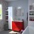 #STECIA Rouge - Meuble salle de bains N°671 - Double vasque VALA - 4 tiroirs  - L120,5xH58,2xP50,5