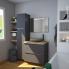 #Meuble de salle de bains - Plan vasque REZO - GINKO Gris - 2 tiroirs - Côtés blancs - L60,5 x H71,5 x P40,5 cm