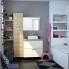 #Colonne de salle de bains - 1 porte miroir - HOSTA Chêne Naturel - Côtés décors - L40 x H182 x P40 cm