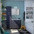 #IRIS Bleu Gris - Meuble salle de bains N°632 - Vasque VALA - 2 tiroirs Prof.40 - L80,5xH58,2xP40,5