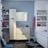#Meuble de salle de bains - Plan double vasque EGEE - IKORO Chêne clair - 4 tiroirs - Côtés décors - L120,5 x H71,2 x P40,5 cm