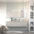 #Meuble de salle de bains - Plan vasque REZO - IVIA Gris - 2 tiroirs - Côtés décors - L80,5 x H71,5 x P50,5 cm