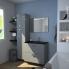 #Meuble de salle de bains - Plan double vasque REZO - STECIA Gris - 4 portes - Côtés décors - L120,5 x H71,5 x P40,5 cm