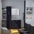 #Armoire de salle de bains - Rangement haut - GINKO Noir - 1 porte - Côtés blancs - L60 x H70 x P27 cm