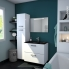 #Meuble de salle de bains - Sous vasque - IRIS Blanc - 2 tiroirs - Côtés décors - L100 x H57 x P40 cm