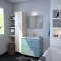 #Meuble de salle de bains - Plan vasque REZO - KERIA Bleu - 2 tiroirs - Côtés blancs - L60,5 x H58,5 x P50,5 cm