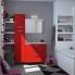 #GINKO Rouge - Meuble sous vasque N°721 - Côté blanc - Double vasque - 4 tiroirs prof.40 - L120xH70xP40