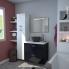 #Meuble de salle de bains - Plan double vasque REZO - KERIA Noir - 4 tiroirs - Côtés décors - L120,5 x H58,5 x P40,5 cm