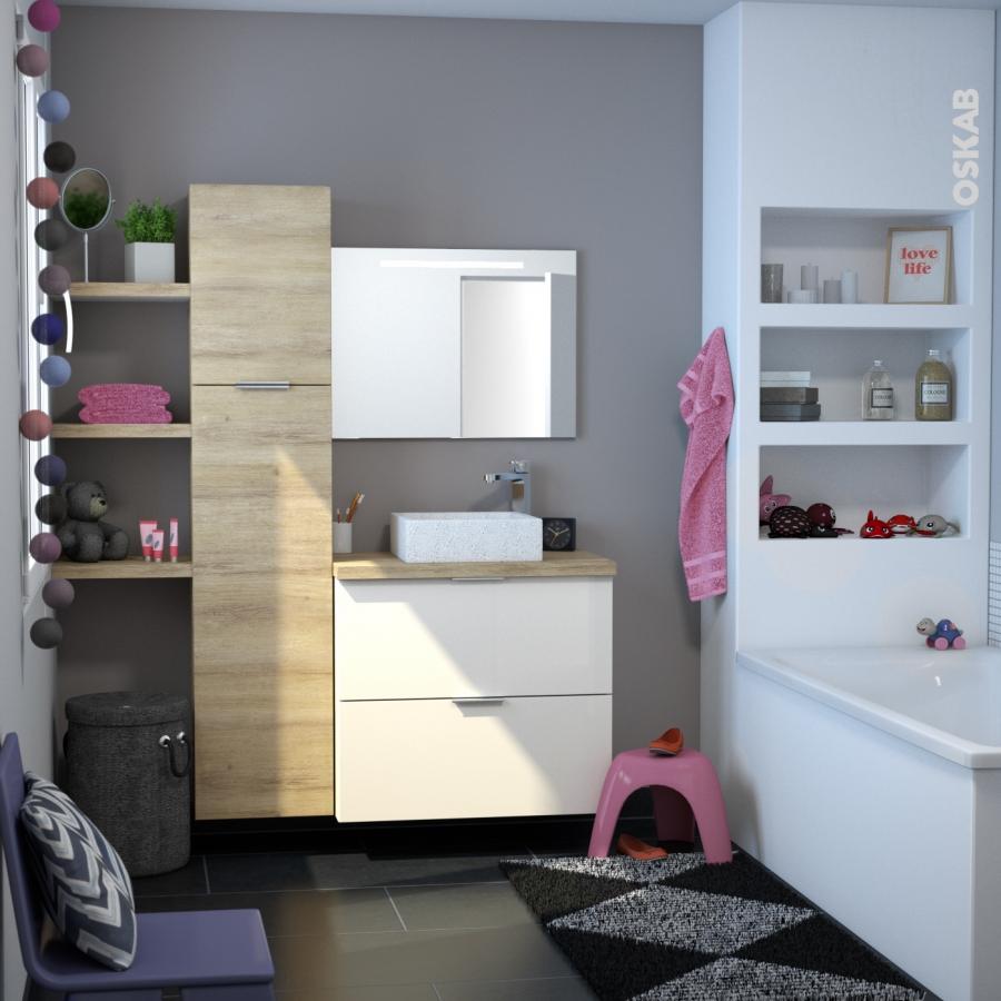 meuble de salle de bains sous vasque keria ivoire 2 tiroirs c t s d cors l60 x h70 x p50 cm oskab. Black Bedroom Furniture Sets. Home Design Ideas